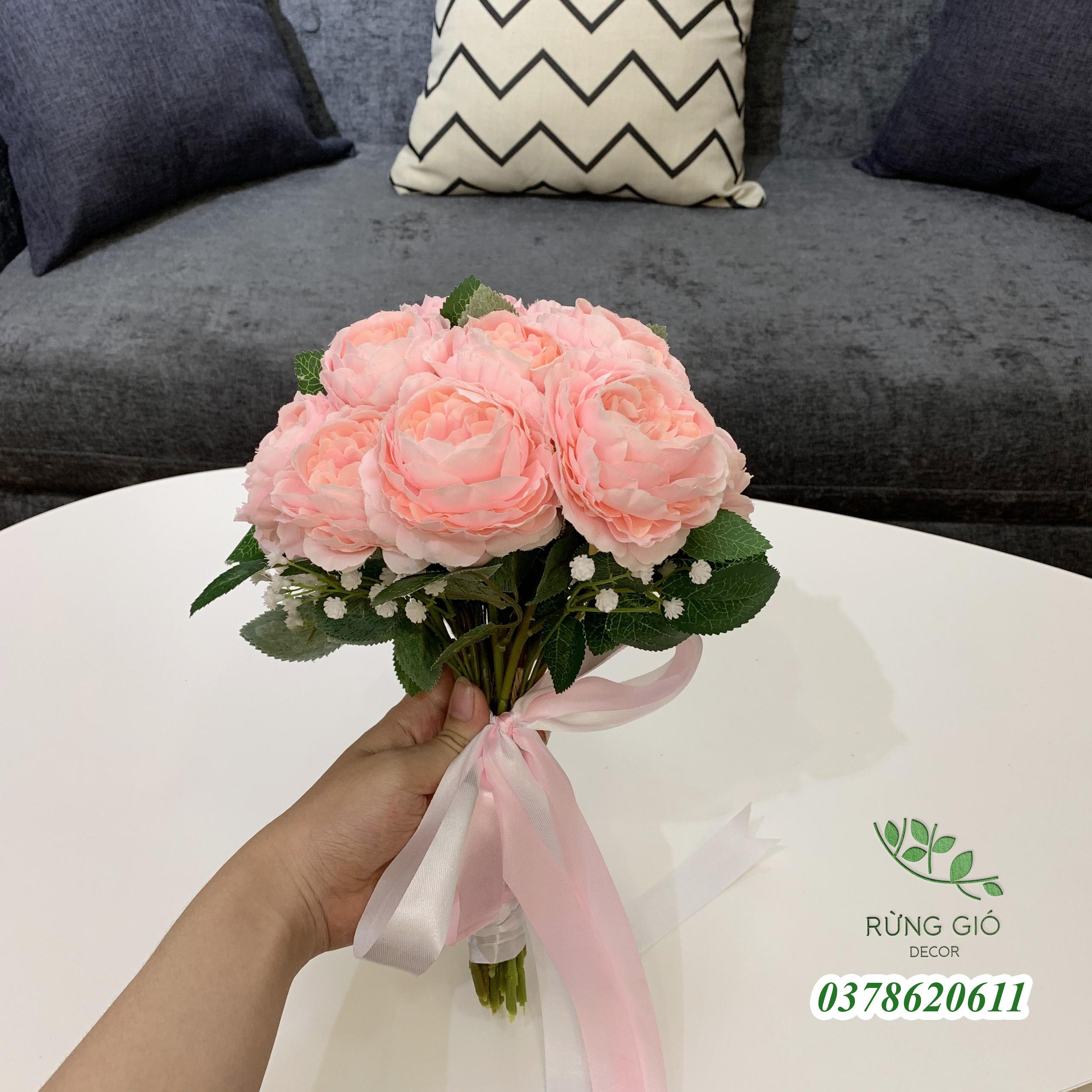 Bó 15 bông hoa mẫu đơn có lá kèm hoa baby và nơ thắt y hình , hoa giả nhân tạo