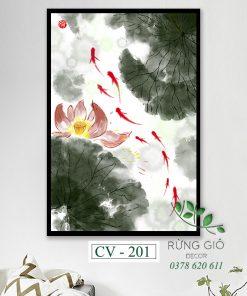 tranh canvas hình đàn cá dưới đầm sen