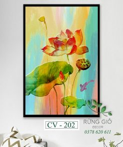 tranh canvas hình hoa sen màu nước