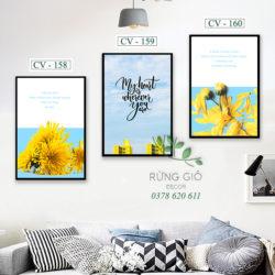 tranh canvas hình hoa cúc vàng tràn đầy tuổi trẻ