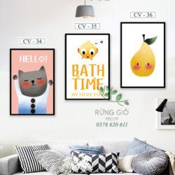 tranh vải canvas hình mèo và chim