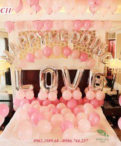 Set bóng trang trí phòng cưới